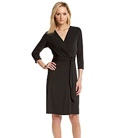 Notations® Solid Front Tie Dress