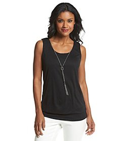 AGB® Slub Knit Tank With Necklace