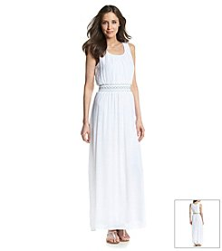 AGB® Embroidered Waist Maxi Dress