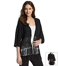 NY Collection Fringe Cardigan