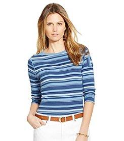 Lauren Jeans Co.® Striped Buttoned-Shoulder Cotton Shirt