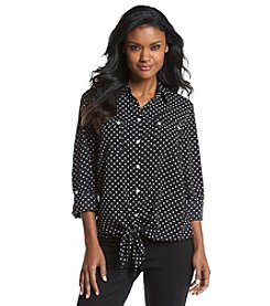 Jones New York Signature® Tie Front Button-Up Shirt
