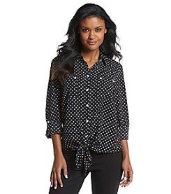Jones New York Signature® Tie Front Button-Up Shirt