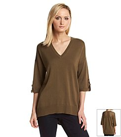 MICHAEL Michael Kors® Roll Sleeve Mesh Back Sweater