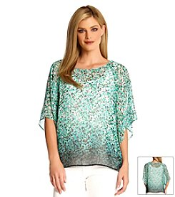 Karen Kane® Painted Floral Dip-Dye Top