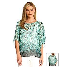 Karen Kane® Painted Floral Dip-Dye Top