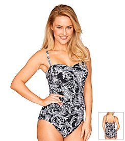 Longitude® Royal Scroll Shirred One Piece Swimsuit