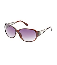Relativity® Rectangle Ornate Metal Temples Sunglasses