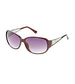 Relativity® Rectangle Ornate Metal Temples Sunglasses