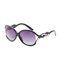 Relativity® Oval with Venting & Goldtone Detail Sunglasses