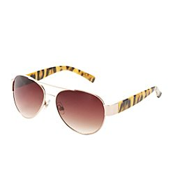 Relativity® Aviator with Animal Temples Sunglasses