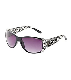Relativity® Rectangle with Animal Print Sunglasses