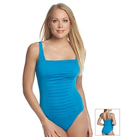 Calvin Klein Archival Solid Pleated One Piece Swimsuit