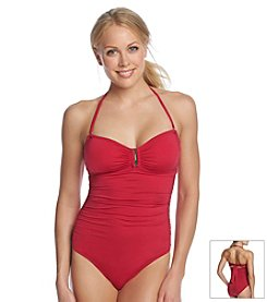 Calvin Klein Bar Solid Bandeau One Piece Swimsuit