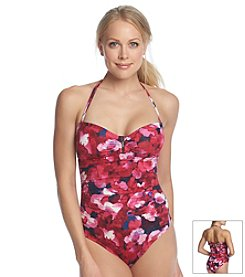Calvin Klein Poppy Bar Floral Bandeau One Piece Swimsuit