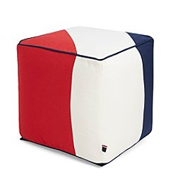 Tommy Hilfiger® Pieced Canvas Navy and Red Pouf