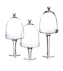 Fitz and Floyd® Gold Knob Set of 3 Glass Pedestals