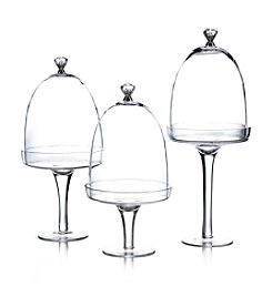 Fitz and Floyd® Silver Knob Set of 3 Glass Pedestals