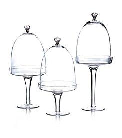 Fitz and Floyd® Silver Knob Set of 3 Glass Pedestals