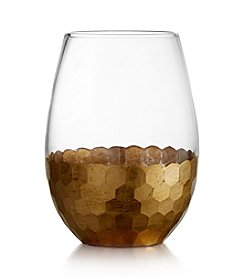 Fitz and Floyd® Daphne Gold Set of 4 Stemless Wine Glasses