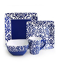 American Atelier Waverly Wax Relief Navy 16-pc. Dinnerware Set