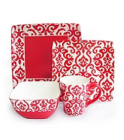 American Atelier Waverly Wax Relief Red 16-pc. Dinnerware Set