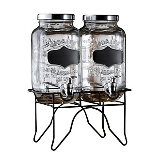 Style Setter Blackboard Beverage Dispenser with Metal Stand