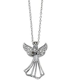Designs by FMC Sterling Silver 0.10 ct t.w. Diamond Angel Pendant Necklace