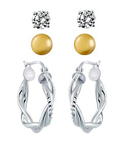 Designs by FMC Sterling Silver & 10K Trio Earrings Set