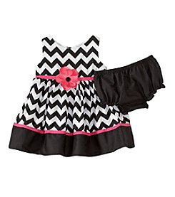 Sweet Heart Rose® Baby Girls' Chevron Dress With Flower