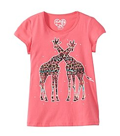 Belle du Jour Girls' 7-16 Short Sleeve Giraffe Tee