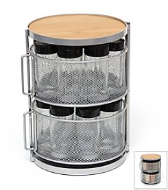Lipper International 2-Tier Grey Metal and Bamboo 18-Bottle Round Spice Tower