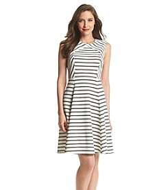 Ivanka Trump® Striped Fit And Flare Dress