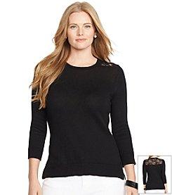 Lauren Ralph Lauren® Plus Size Crewneck Lace Sweater