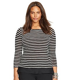 Lauren Ralph Lauren® Plus Size Striped Ballet-Neck Top