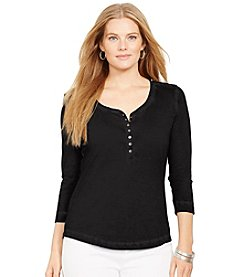 Lauren Ralph Lauren® Plus Size Cropped-Sleeve Henley Top