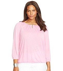 Lauren Ralph Lauren® Plus Size Jersey Keyhole Peasant Top