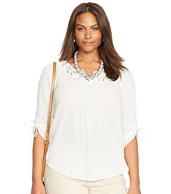 Lauren Jeans Co.® Plus Size Cropped-Sleeved Lace Tunic Top