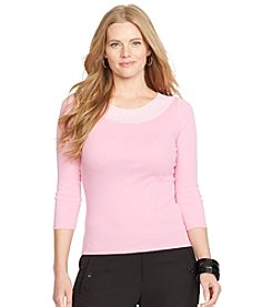 Lauren Ralph Lauren® Plus Size Pointelle-Knit Cotton Top