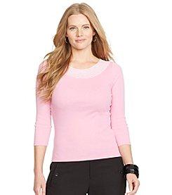Lauren Ralph Lauren® Plus Size Pointelle-Knit Cotton Top