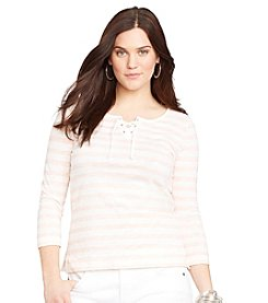 Lauren Jeans Co.® Plus Size Striped Lace-Up Shirt