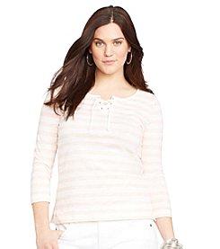 Lauren Jeans Co.® Plus Size Striped Lace-Up Shirt
