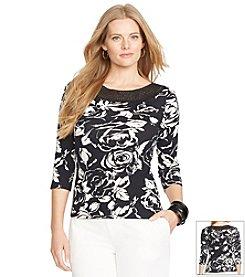 Lauren Ralph Lauren® Plus Size Floral Ballet-Neck Shirt