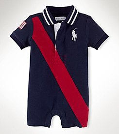 Ralph Lauren Childrenswear Baby Boys' Mesh Polo Collar Shortall
