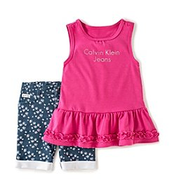 Calvin Klein Girls' 2T-6X Peplum Top and Bermuda Outfit Set
