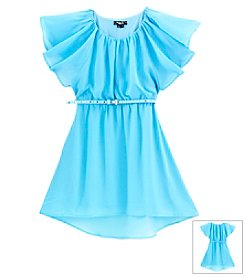 Sequin Hearts Girls' 7-16 Flutter Sleeve Chiffon Dress With Belt
