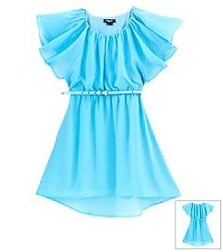 Sequin Hearts Girls' 7-16 Flutter Sleeve Chiffon Dress With Belt
