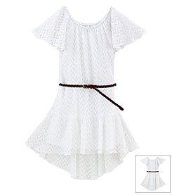 Sequin Hearts Girls' 7-16 Lace Hi Low Dress