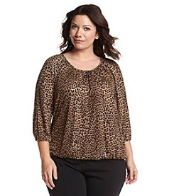 MICHAEL Michael Kors® Plus Size Leopard Peasant Top
