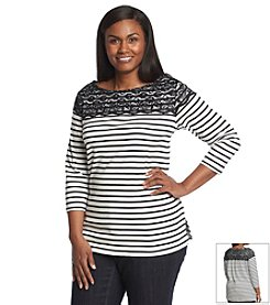 Rafaella® Plus Size Lace Yoke Stripe Knit Top